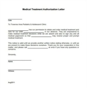 Formal Medical Authorization Letter Example