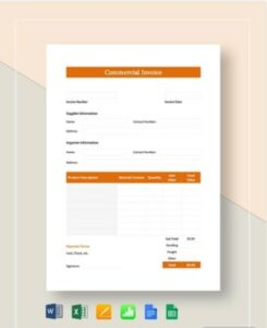 Simple Commercial Invoice Example