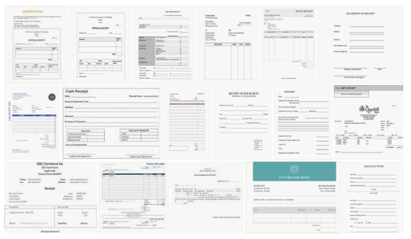 3 Receipt Examples in PDF