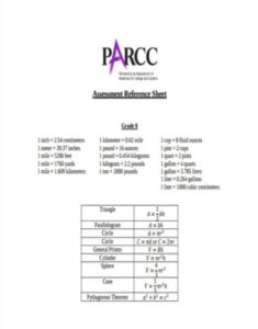 Assessment Reference Sheet