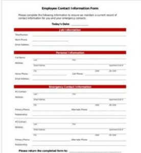 Employee Contact Information Form Example