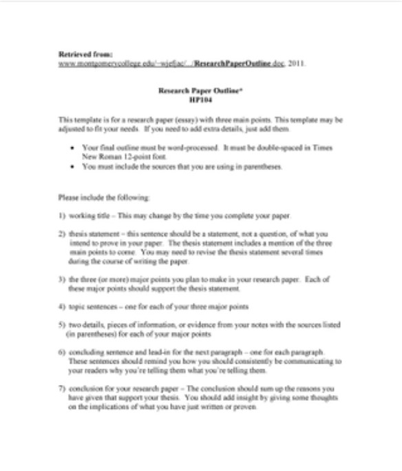 Basic Research Paper Outline