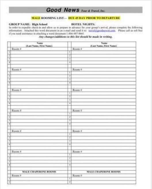 Male Rooming List Example