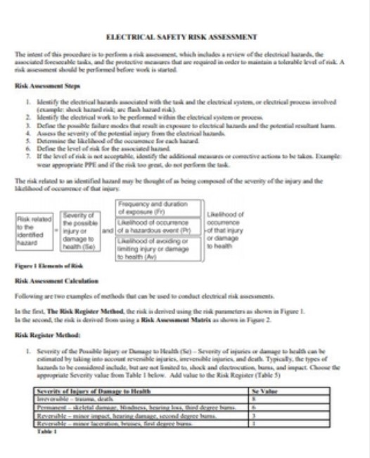 Electrical Safety Risk Assessment
