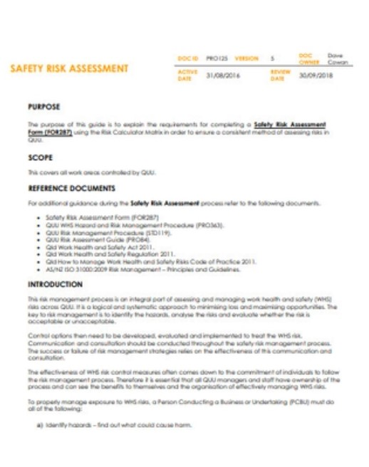 Safety Risk Assessment Example
